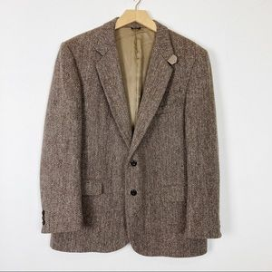 Vintage Harris Tweed sport coat brown cream tan